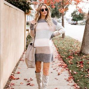 Striped Knit Sweater Dress